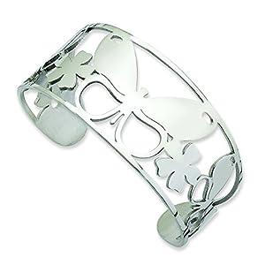 Stainless Steel Polished Butterfly Cuff Bangle Bracelet - JewelryWeb