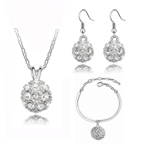 Bridal White Crystal Balls Jewellery Set Drop Earrings Necklace & Bracelet S264