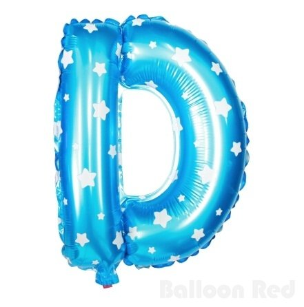 16 Inch Foil Mylar Balloons for Party Wall Decoration (Premium Quality, Non-Floatable), Blue Stars, Letter D