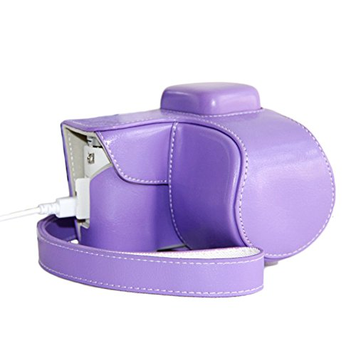 Win8Fong Pu Leather Camera Case Bag Cover For Samsung Nx3000 Charging Style / Purple