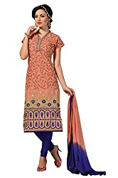 Women Icon Presents Embroidered Chanderi Dress Material(Dark Peach,Dark Blue)