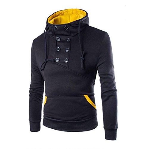 Koly_Uomini Retro Felpa con cappuccio delle parti superiori del cappotto del rivestimento Outwear (M, Nero)