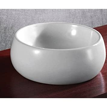 Caracalla Caracalla CA4921-No Hole-637509842543 Round and Vessel Ceramic Bathroom Sink, White