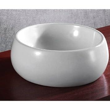 Caracalla Caracalla CA4921-No Hole-637509842543 Round and Vessel Ceramic Bathroom Sink, White
