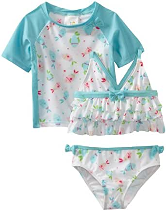 ABSORBA Baby Girls' Three Piece Swimsuit, Turquoise, 18