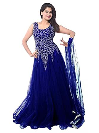 FenaPrime Women's Blue Net Anarkali Dress Material HFP1105