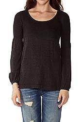 Dinamit Juniors Tunic Sweater w Rib Bodice Black S