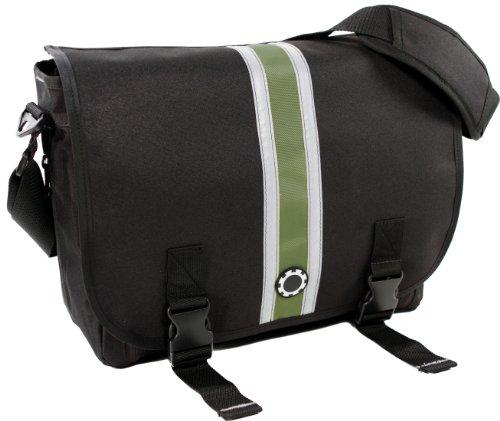 Dadgear Messenger Diaper Bag - Green Center Stripe