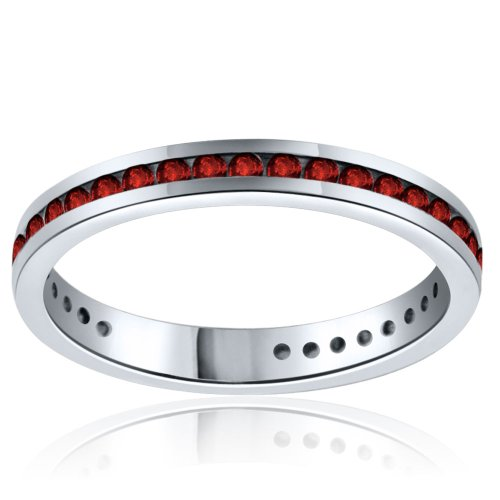 Sterling Silver Simulated Ruby Band-0.50ct