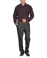 LAGNESH Men's Long Sleeve Shirt (Brown, 42)