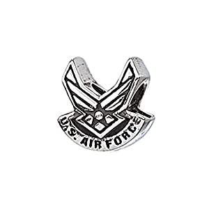 "Genuine Zable (TM) Product. 925 Sterling Silver ""US Air Force"" Wings Bead Charm. 100% Satisfaction Guaranteed."