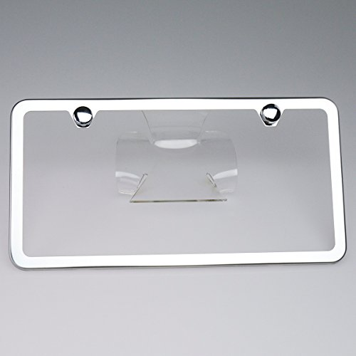 New Stainless Steel Slim Chrome Mirror Universal Fit License Plate Frame w/ Screw Caps - 2 Holes (Subaru License Plate Frame Chrome compare prices)