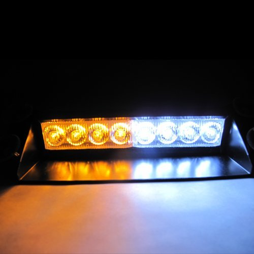 White / Amber Warning Caution Van Truck 8-LED Emergency Strobe Light Lamp Bar #72