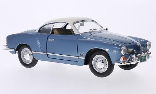 VW-Karmann-Ghia-metallic-hellblauweiss-1966-Modellauto-Fertigmodell-Lucky-Die-Cast-118