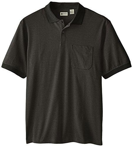 Haggar men 39 s short sleeve minibox polo with pocket black for Mens two pocket short sleeve shirts