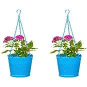 Trust Basket Set Of 2 Lace Hanging Basket- Blue