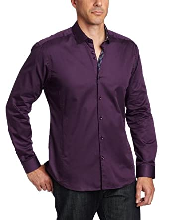 Stone Rose Men's Button Down Woven Trim Dress Shirt, Deep Purple, 2