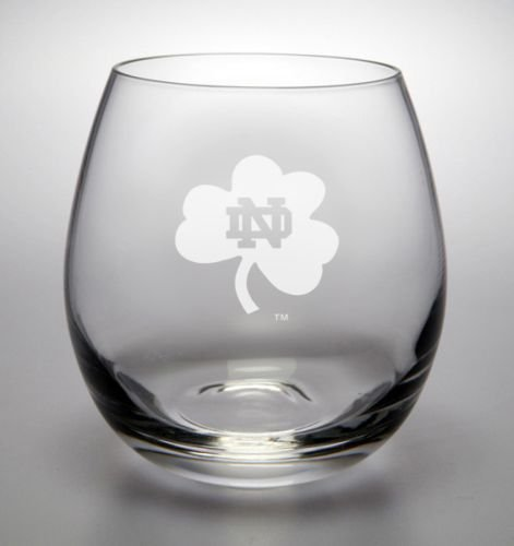 Notre Dame Fighting Irish Shamrock Deep Etched Stemless White Wine Glass