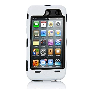 NTK Premium For iTouch iPod Touch 4 4G Silicone Case with Hard Shell Inside Case With Built In Touch Screen Protector Film 2 Layer Case -White