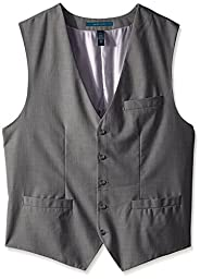 Perry Ellis Men\'s Big-Tall Big and Tall Solid Texture Suit Vest, Brushed Nickel, 2X-Large/Tall