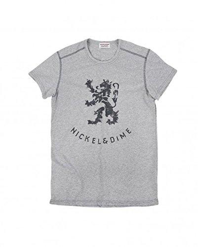 T- shirt girocollo mezze maniche con logo a contrasto sul davanti NICKEL & DIME grigio Taglia M