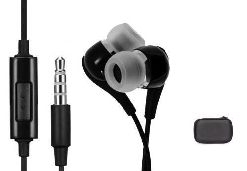 Stereo Hands-Free Wired Headset In-Ear Headphones Earphones Dual Earbuds For Sprint Samsung Galaxy S3 Sph-L710 / Galaxy S4 Sph-L720 - Sprint Samsung Galaxy Note 3 (Sm-N900P) - Sprint Samsung Galaxy S5 (Sm-G900P) - (Includes Zipper Hard Case)