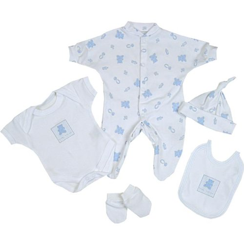 Premature Early Baby Clothes 5 Piece Set - Sleepsuit, Bodysuit, Hat,Mittens & Bib 1.5lb - 7.5lb Blue Prem 2