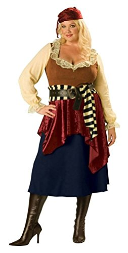 Coslove Womens Plus Size Deluxe Buccaneer Beauty Lady Pirate Adult Costume 2XL