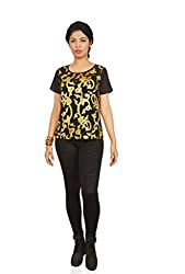 Isadora Women's Top (WCT234013_Black & Gold_Small)