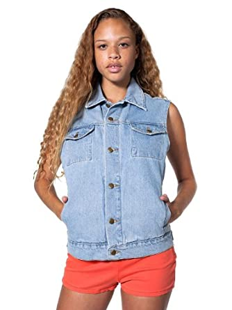 American Apparel Unisex Sleeveless Denim Jacket - Medium Stone Wash Indigo / XS