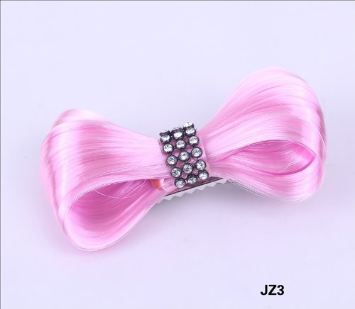 Aokeshen New 1pc 8CM Fashion Mini Lady Gaga Women CZ Extension Tie Bow Bowknot Hairpiece Clip Headwear Hairpin Styling Synthetic Hair Extension Ponytail Holder Cosplay Party Versatile JZ3