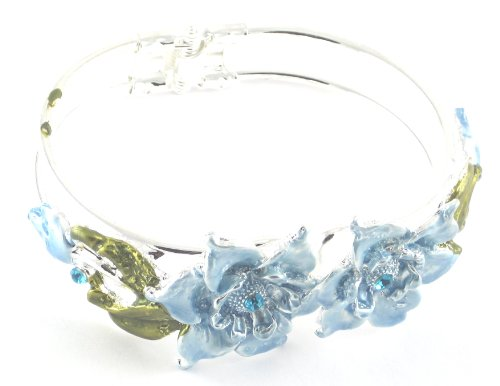 Large Flower Blue Coloured & Diamante Detail Snap Bangle