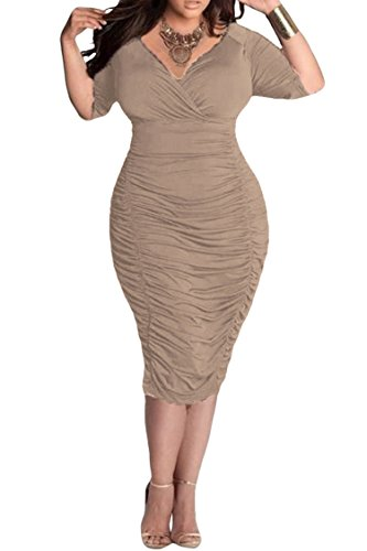 Pink Queen Womens Plus Size Deep V Neck Wrap Ruched Waisted Bodycon Dress XXL Coffee