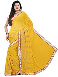 Suchi Fashion Yellow Heavy Embroidery and Diamond Work Chiffon Saree