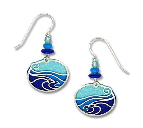 Adajio by Sienna Sky Waves Aqua Blue Purple Oval Earrings 7317
