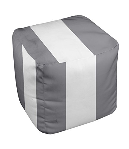 E by design Stripe Pouf, 13-Inch, 3Classic Gray