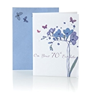 Purple Flowers 70th Birthday Card