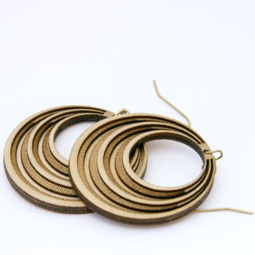 Handcrafted Retro-Inspired Wooden Earrings, Eco-friendly