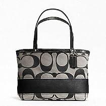 Hot Sale NWT Coach Signature Stripe Tote Handbag with Handle Black/white F47750 - $168