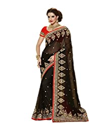 Vipul Heavy Embroidery Black Georgette Saree