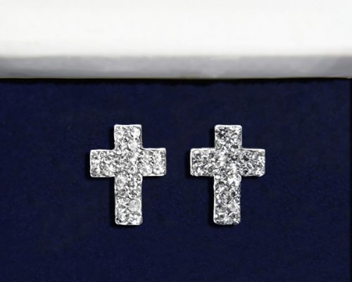 Religious Earrings -Crystal Cross (18 Pairs)