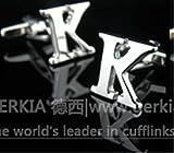 カフス ボタン アルファベット シルバー 銀 大文字 イニシャル (K) 1個
