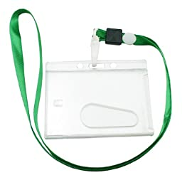 Chuzhao Wu Green Neck Strap Plastic For ID Card Holder (Pack Of 10)