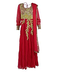 Vama Girl's Georgette Anarkali Suit (Magenta, 40)