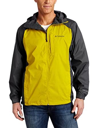 Columbia Men's Tall Straight Line Rain Jacket, Antique Moss, Grill, Large Tall