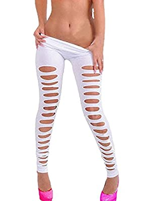 Women's European Super Sexy Candy Color Skiny Slim Hole Pants Leggings (white)