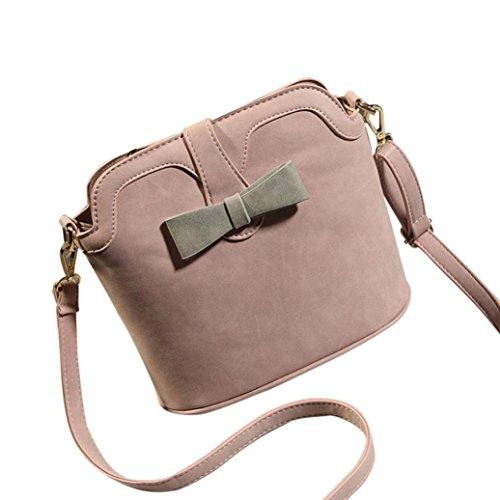 Borsa a tracolla Clode® Donne Piccole Nubuck Leather Fashion Spalla Benna a Tracolla Sacchetto di Scuola (Colour : Rosa)