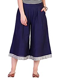 ANS By Astha And Sidharth's Navy Blue Calf Length Cullottes With Printed Hem