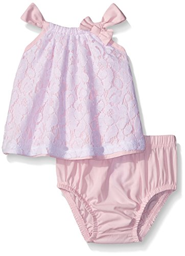 Calvin Klein Baby-Girls Top with Lace Overlay and Panty, Pink, 6-9 Months