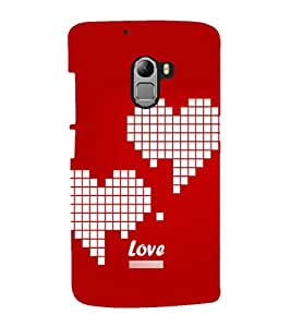 printtech Heart Pixels Love Back Case Cover for Lenovo Vibe K4 Note